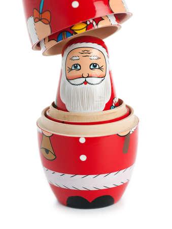 matroshka: Santa Claus nesting doll, uncovered. Isolated on white.