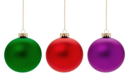 Green, red and magenta Christmas Baubles, isolated on white. Stock Photo