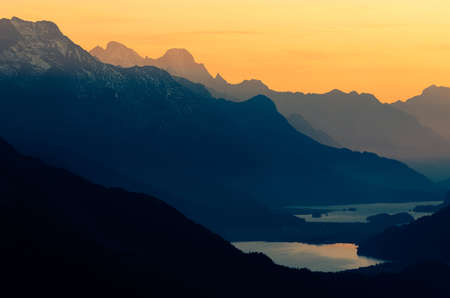 Image shot from Muottas Muragl, Switzerland  2456m   View over upper Engadine with Lake St Moritz and Lake Silvaplana