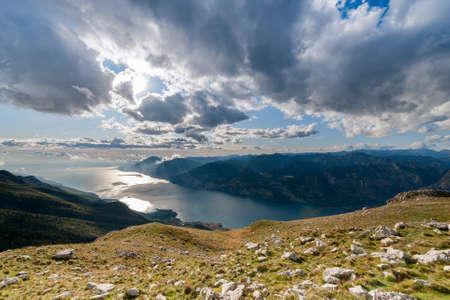 Stunning view on Lake Garda with Dolomites mountain range  photo