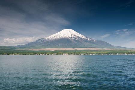 mt fuji: Dramatic view on mount Fuji with Yamanakako, seen form lake Yamanaka