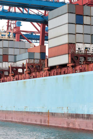Large containership with a lot of cargo containers