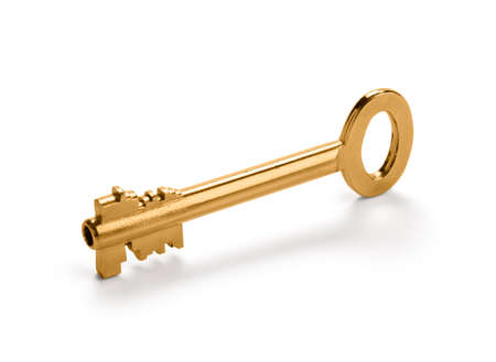 Golden key with smooth shadow, isolated over white background  Clipping path included  photo