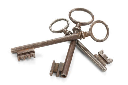 antique keyhole: Three old skeleton keys, isolated on white with soft shadows  Clipping path included  Stock Photo