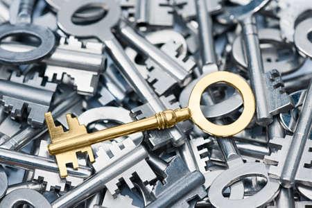 key to success: Golden key on a array different keys  Stock Photo