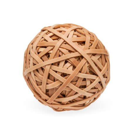 rubberband: High res rubberband ball with soft shadow. Isolated on white with clipping path. Stock Photo