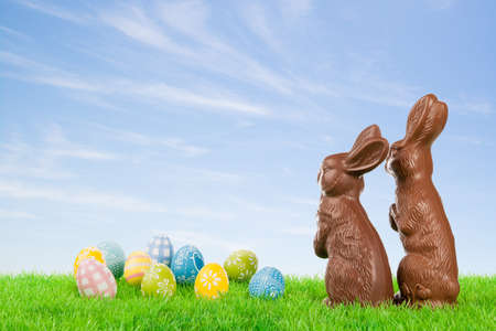 Couple of chocolate easter bunnies with colorful eggs on a meadow   photo