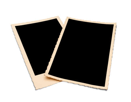 Two nostalgic photo frames, isolated on white  Clipping path included  photo