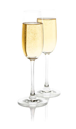 Two glasses with champagne  Isolated on white with clipping path