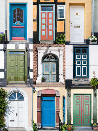 Variation of nine different old front doors all over Denmark  File size over 23MP, ready for your design  Stock Photo