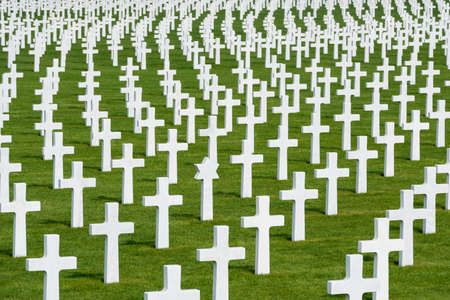 military cemetery: Bunch of white marble crosses at the American military cemetery Henri-Chapelle, Belgium. Stock Photo
