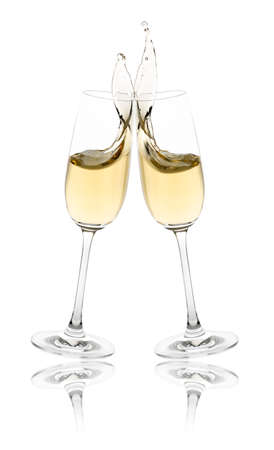 Celebration toast with champagne flutes.