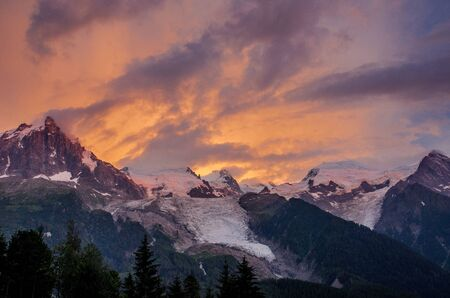 France, the Chamonix Valley, the sunset overlooking the glacier Stock fotó