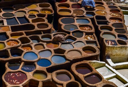 Morocco, Africa, Fez, Leather dyehouses of the city of Fez.