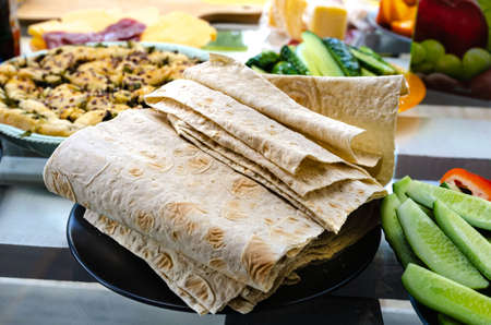 Takeaway serving size fast food background top view copy space lavash food for a picnic very tasty hearty healthy