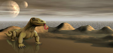 Computer generated 3D illustration.Lizard in the desert among sand dunes.