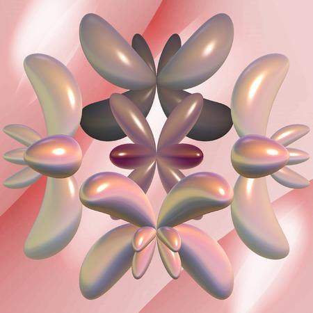 Digital fractal 3D design.Butterflies on pink background. Stock Photo