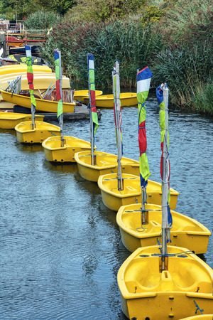 yellow boats: Yellow boats standing in a row.