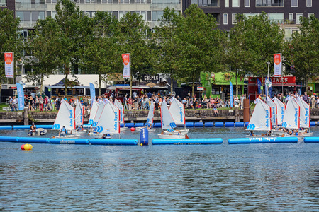peddle: Kids are learning to sail at SAIL Amsterdam 2015, the largest free public sail event in the world. AUGUST 20, 2015 AMSTERDAM THE NETHERLANDS
