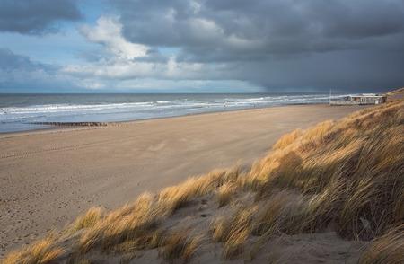 Uitzicht op de Noordzee tijdens een storm Stockfoto