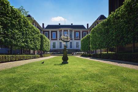 architectural lighting design: May 12, 2016 a picture of the French garden behind the building of the Council of States at The Hague in The Netherlands.