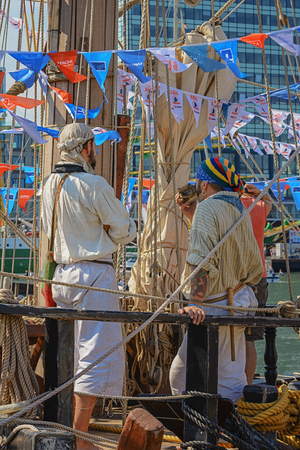 pirate crew: Amsterdam, Netherlands - August 20: SAIL Amsterdam 2015 is an immense flotilla of Tall Ships, maritime heritage, naval ships and impressive replicas.