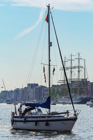 immense: Amsterdam, Netherlands - August 20: SAIL Amsterdam 2015 is an immense flotilla of Tall Ships, maritime heritage, naval ships and impressive replicas.