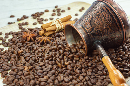 cezve: Coffee beans poured out of the cezve.