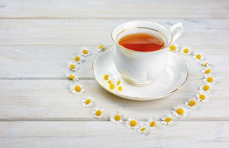chamomile tea: Chamomile tea on the table.