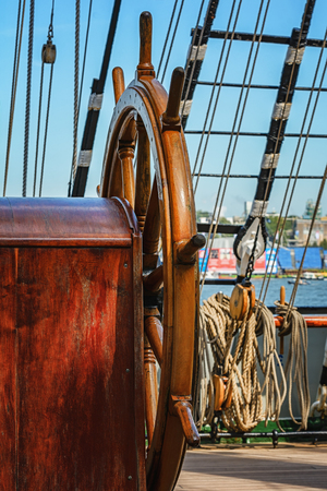 rudder ship: The rudder and rigging aboard of a sail ship