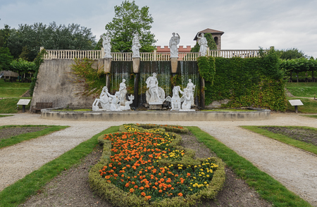 mondo: Landgraaf, The Netherlands - July 12, 2016: Parc Mondo Verde, a copy of the Trevi fountain in Rome. Editorial