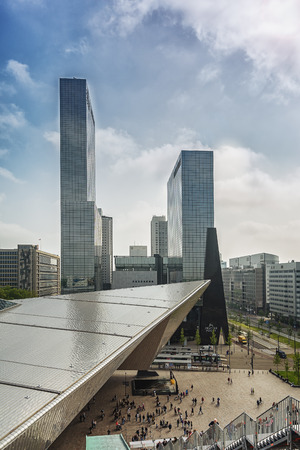 temporarily: Rotterdam, Netherlands - May 26, 2016: Picture of the front of Rotterdam Central Station in the background the towers of the building Delft Gate. Editorial