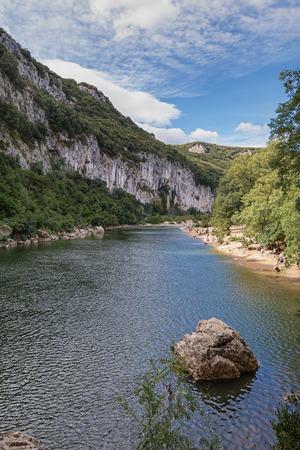 paleolithic: Valley River Ardeche, France. Stock Photo
