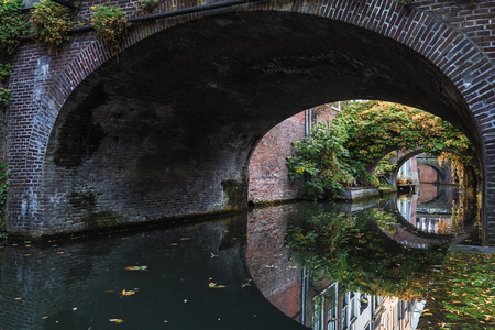 Kromme Nieuwegracht with its arched bridges in the old town of Utrecht. Stock Photo