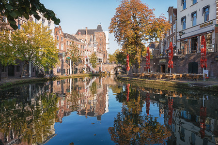 Utrecht, Netherlands - October 23, 2016: The Old Canal in the historic center of the city of Utrecht