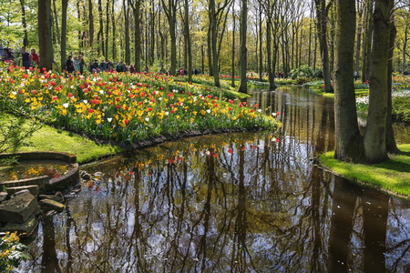 Lisse, Netherlands - May 4, 2015: Visitors to Keukenhof, the largest flower show in the world.