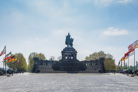 Koblenz, Germany, April 22, 2015: Deutsches Eck, German Corner, is the name of a headland in Koblenz where the Moselle joins the Rhine.
