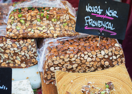 Dark nougat on the market in a small French village