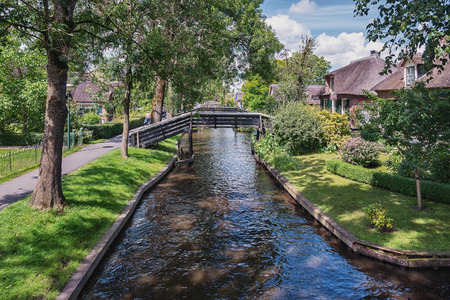 felled: A view of a number of bridges across the canal in the Dutch town of Giethoorn.