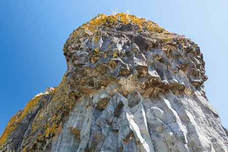 Huge basalt rock on the mountain at Mirabel in the department of Ardeche in France