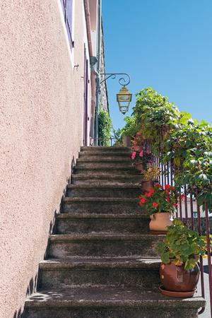 Oude trap in de voorkant van de deur versierd met planten in bloempotten. Stockfoto