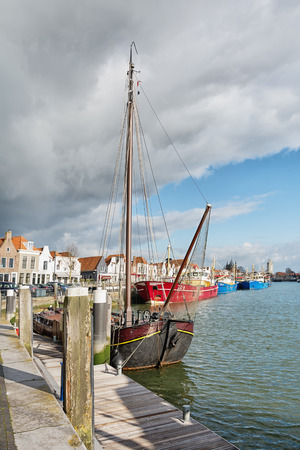 Zierikzee, Netherland, February 5, 2015: The harbor of the historic city Zierikzee Zeeland in the Netherlands. Editorial