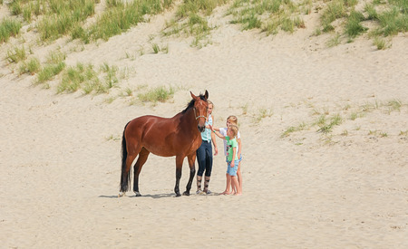 Texel, Netherlands, 1 August 2015: Horse with rider and two girls on the North Sea Texel beach Editorial