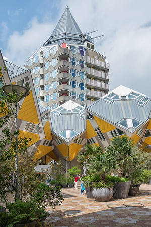 Rotterdam, Netherlands - May 26, 2016: Cube houses are a set of innovative houses.