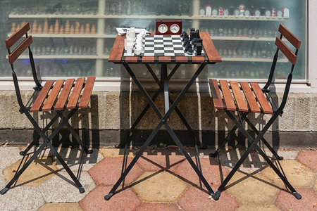 Rotterdam, Netherlands - May 26, 2016: Decorative chess set on the table Editorial