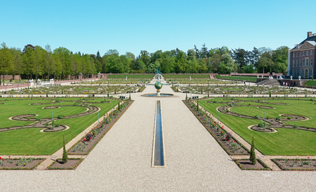 Apeldoorn, The Netherlands, May 8, 2016: Dutch baroque garden of The Loo Palace, a former royal palace and now a national museum located in the outskirts of Apeldoorn in the Netherlands