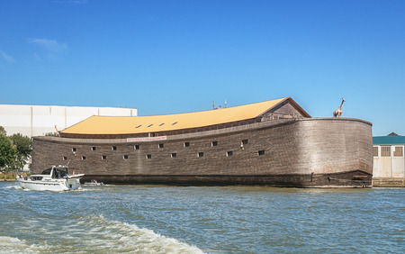 Rotetrdam, Netherlands - August 18, 2016: In one of the ports of Rotterdam lie Noahs Ark docked. The ark is 30 meters wide, 23 meters high and 135 meters long.