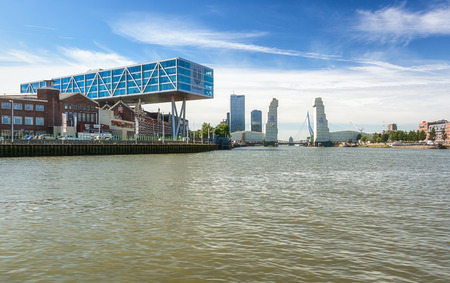 Rotterdam, Netherlands - August 18, 2016: Renovation of the rail bridge The Hef in Rotterdam, Netherlands