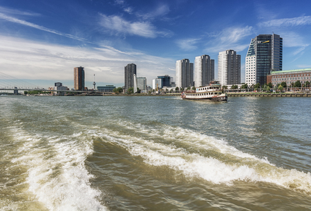 Rotterdam, Netherlands - August 18, 2016: Rotterdam skyline seen from the water, Netherlands