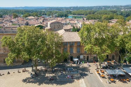 palais: Avignon, France, September 9, 2016: View on Avignon from the Papal palace in Avignon